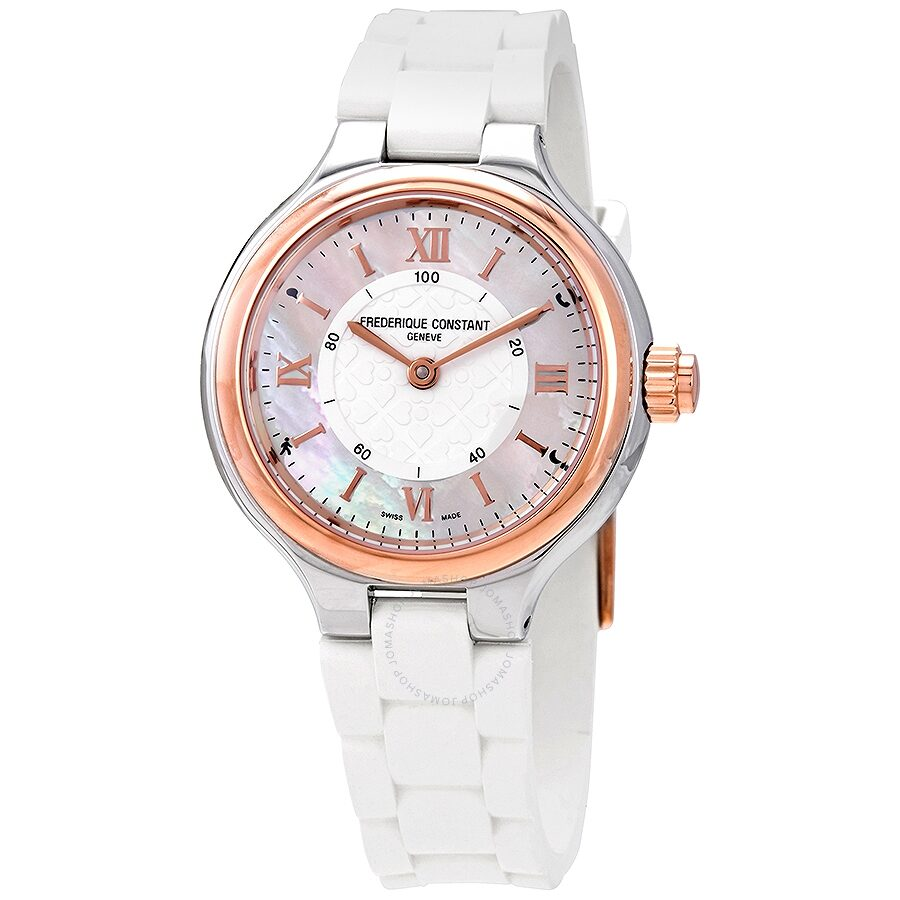 Frederique Constant Silver Mother of Pearl Dial Ladies Horological Smartwatch FC-281WH3ER2