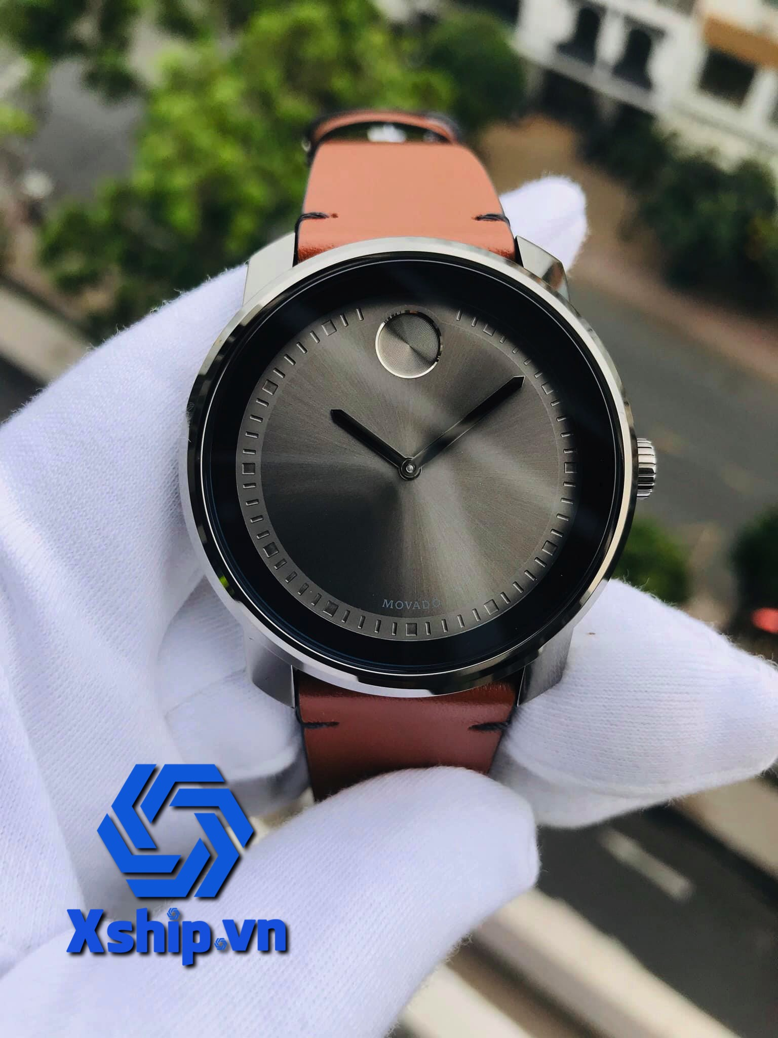 Movado Bold Grey Dial Brown Leather Mens 3600366