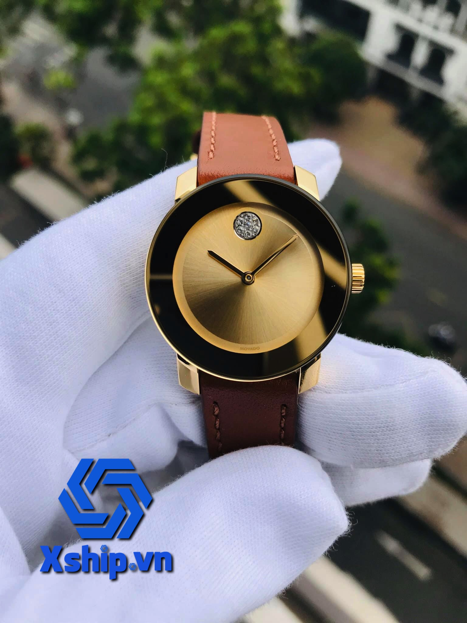 Movado Bold Gold Dial Brown Leather Ladies 3600437 (MV3600437)