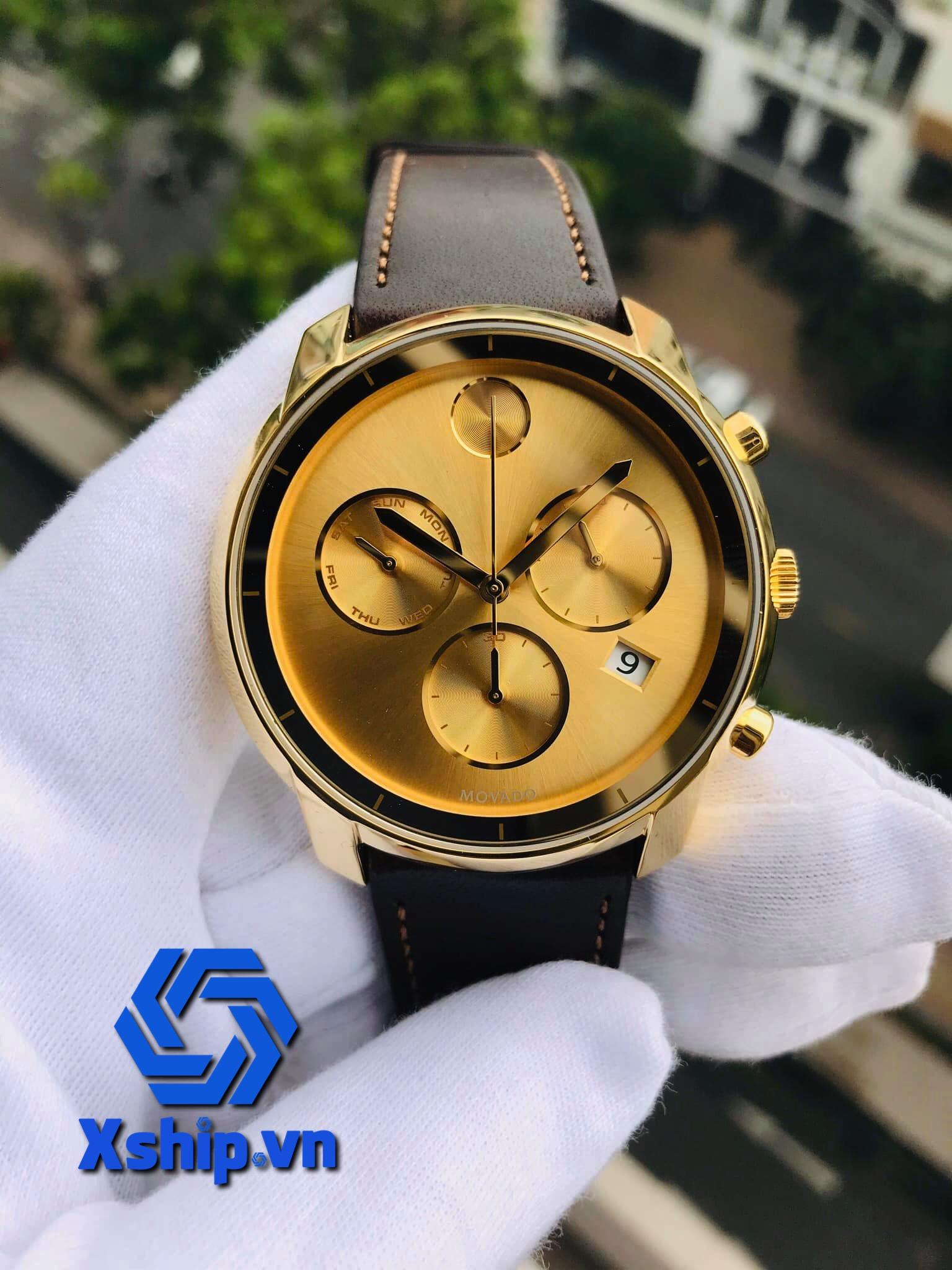 Movado Bold Chronograph Gold Sunray Dial Mens 3600477