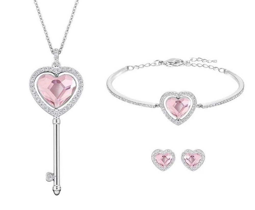 Swarovski-Engaged-Rhodium-Plated-Pink-Clear-Crystal-Jewelry-Set-5225370