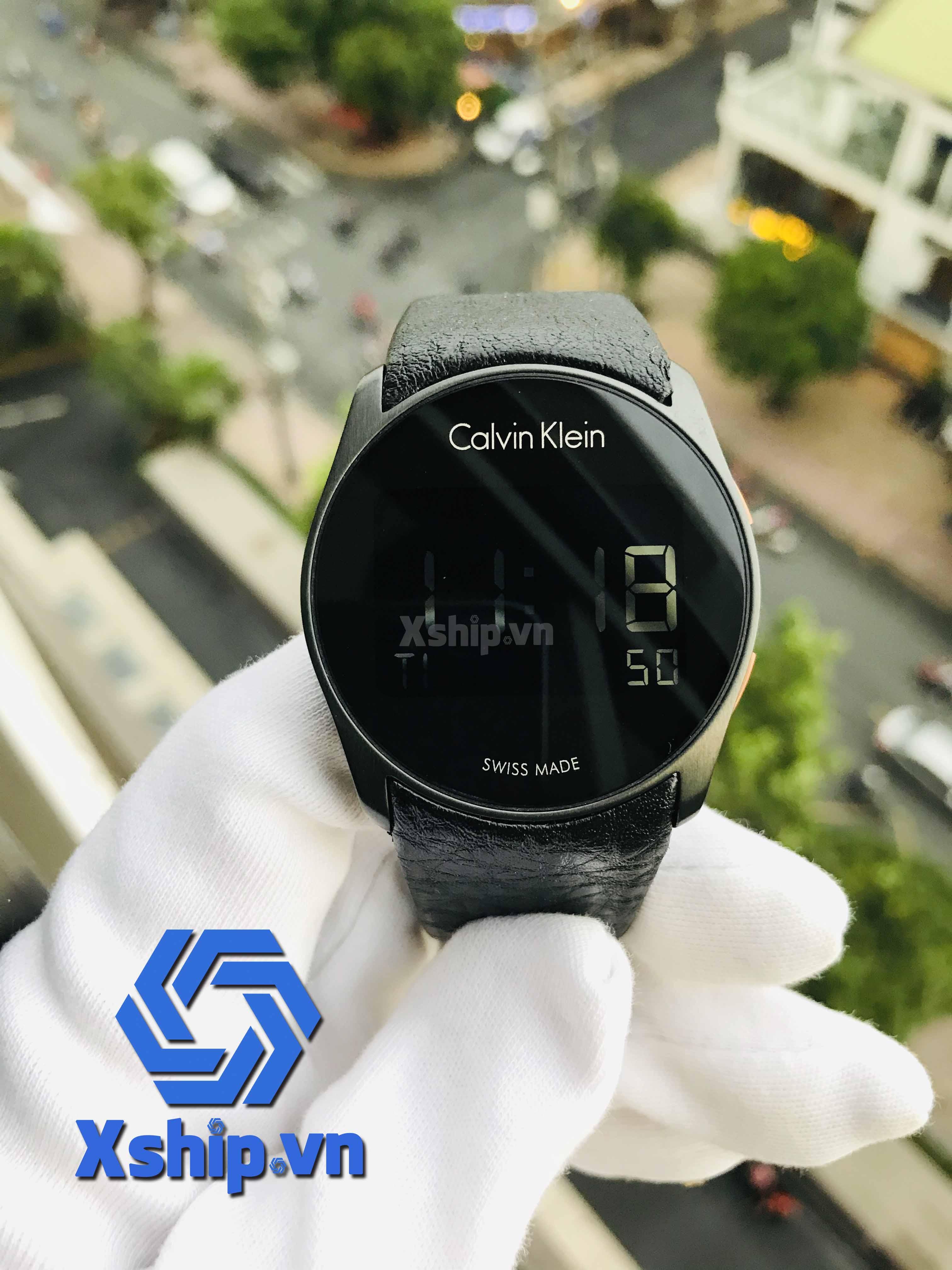 Calvin Klein Mens Digital Quartz with Leather Strap K5B13XC1