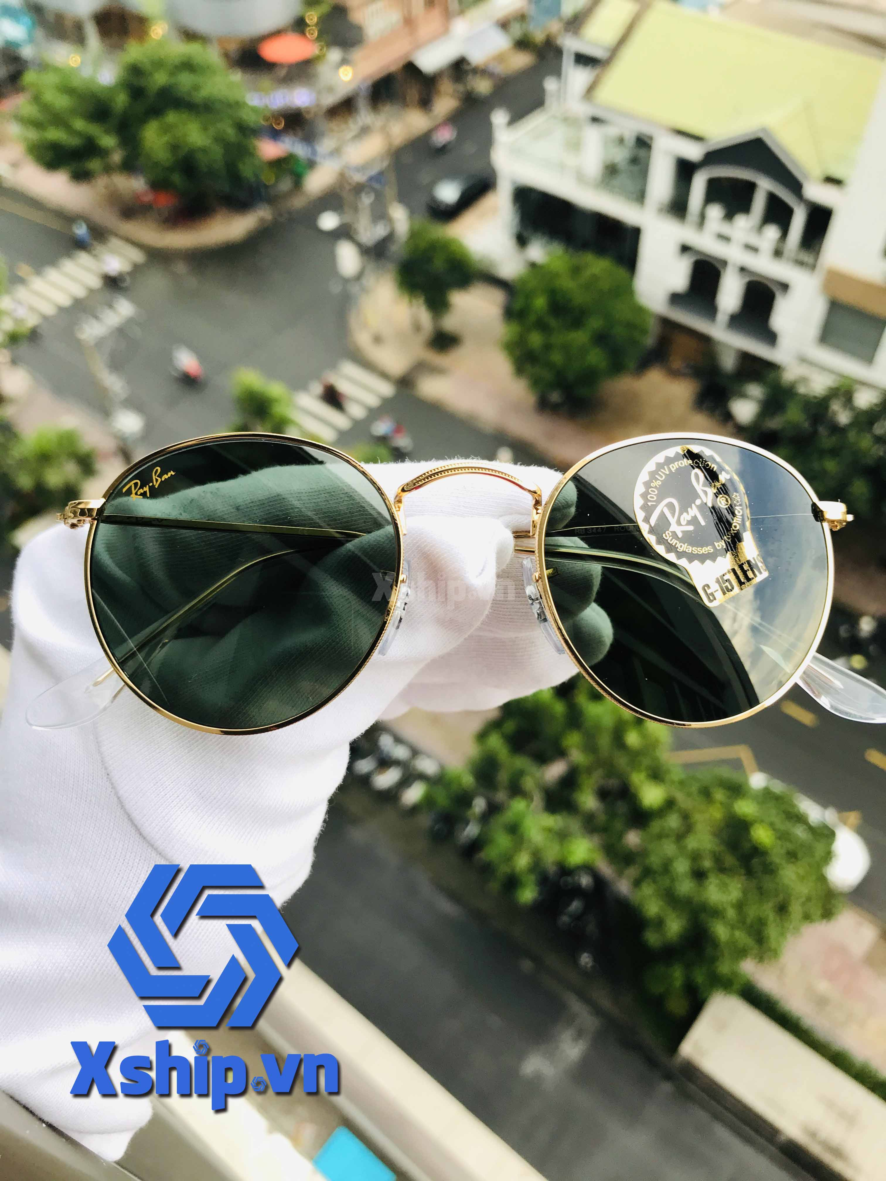 Ray Ban Green Classic G-15 Round Men Sunglasses RB3447 919631 47