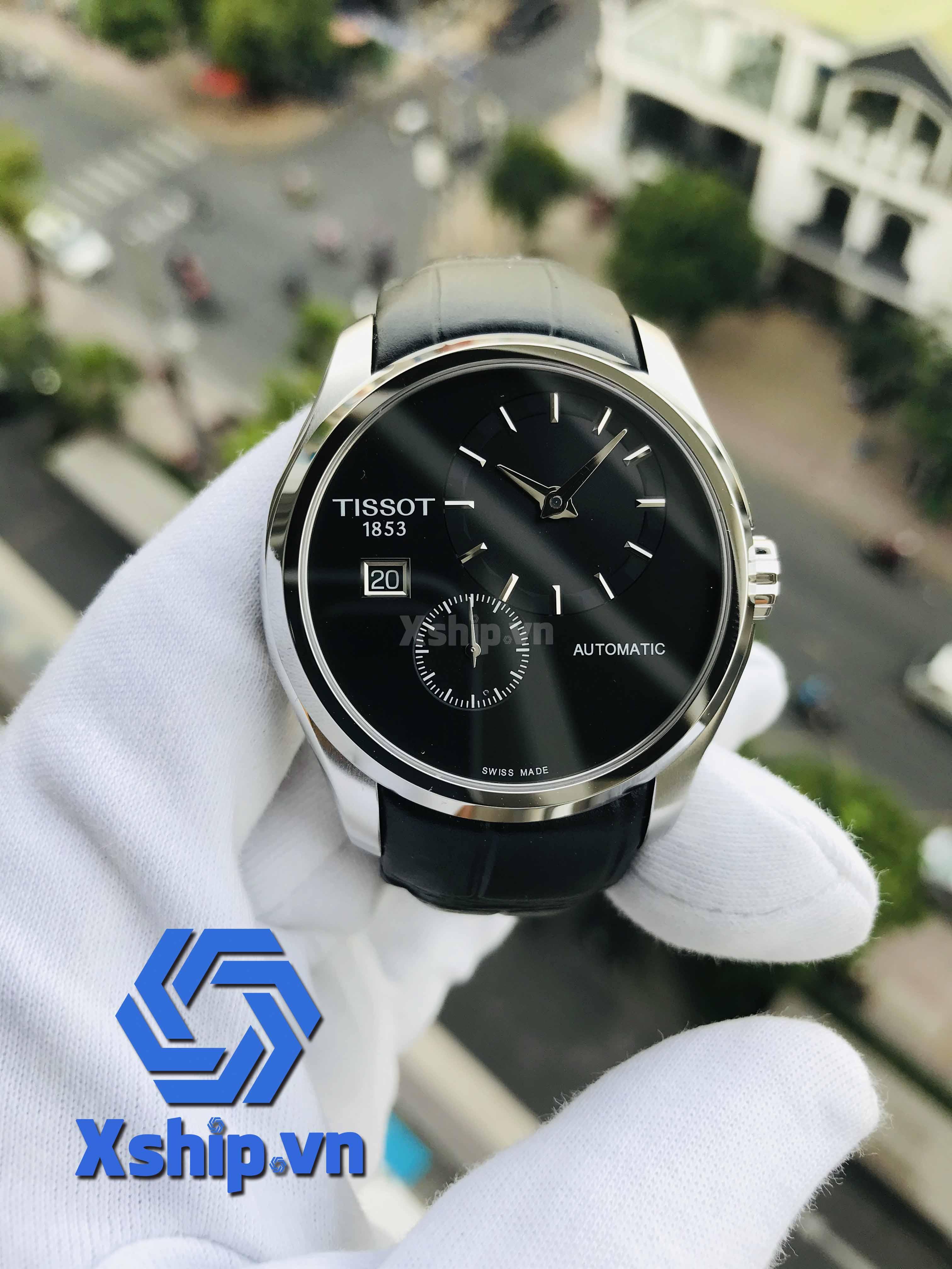 Tissot Couturier Automatic Black Dial Black Leather Mens T035.428.16.051.00 (T0354281605100)