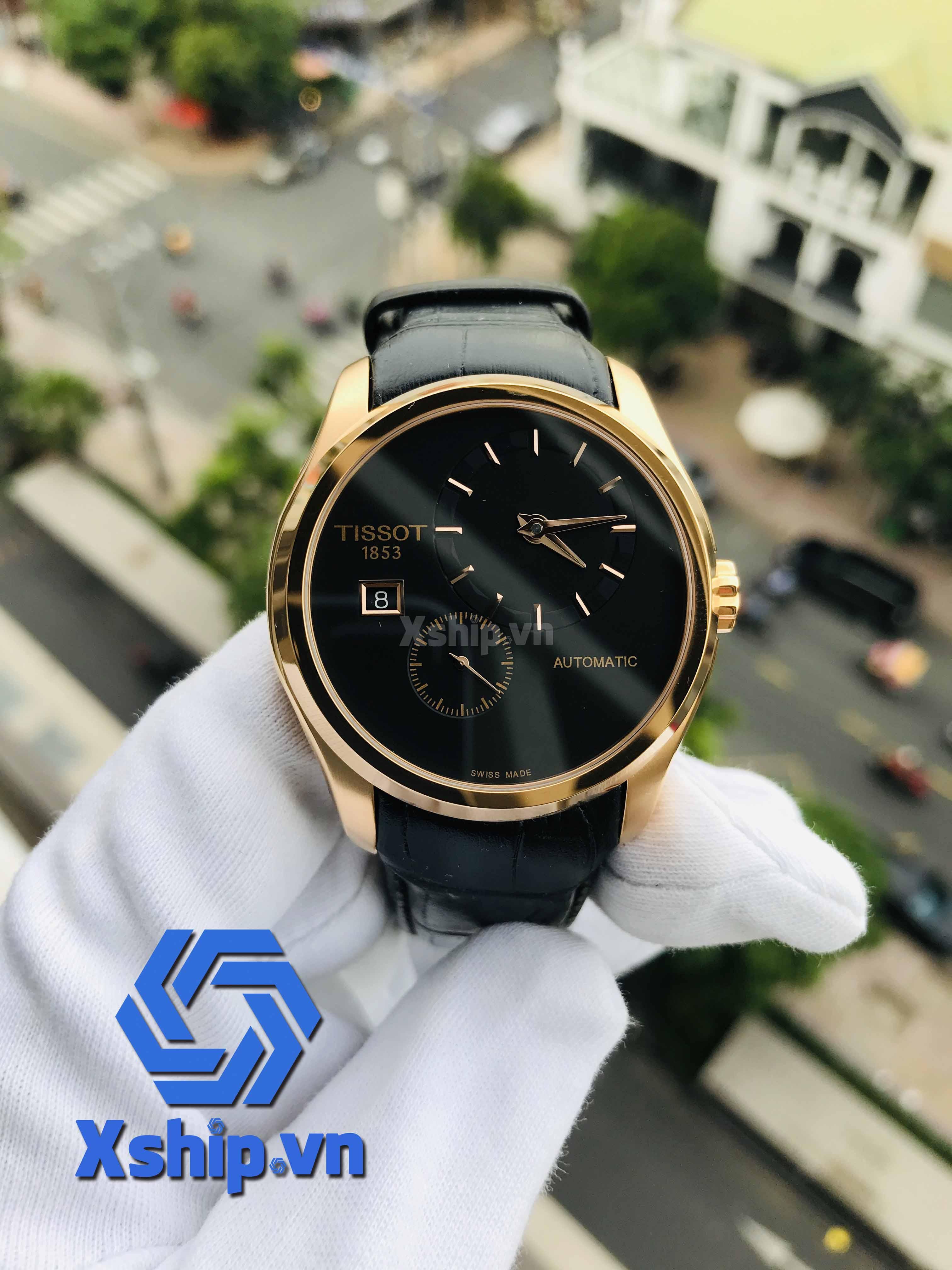 Tissot Couturier Black Dial Black Leather Mens T035.428.36.051.00 (T0354283605100)